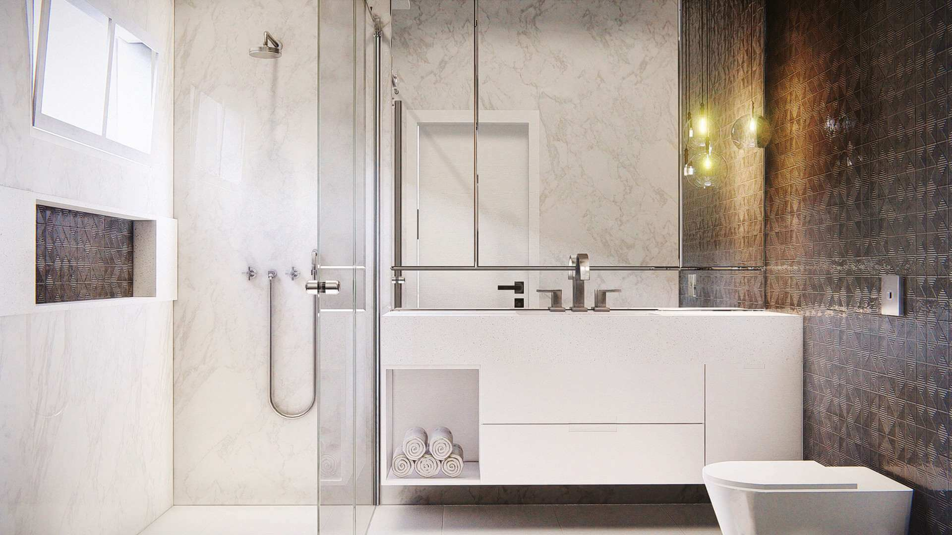 Rendering of a high-end bathroom.