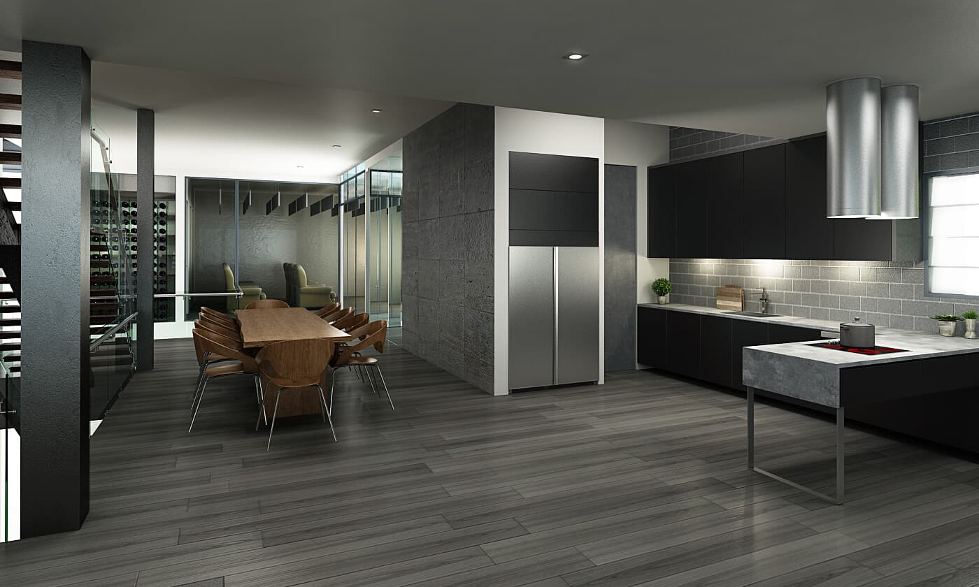 Rendering of a modern Kitchen.