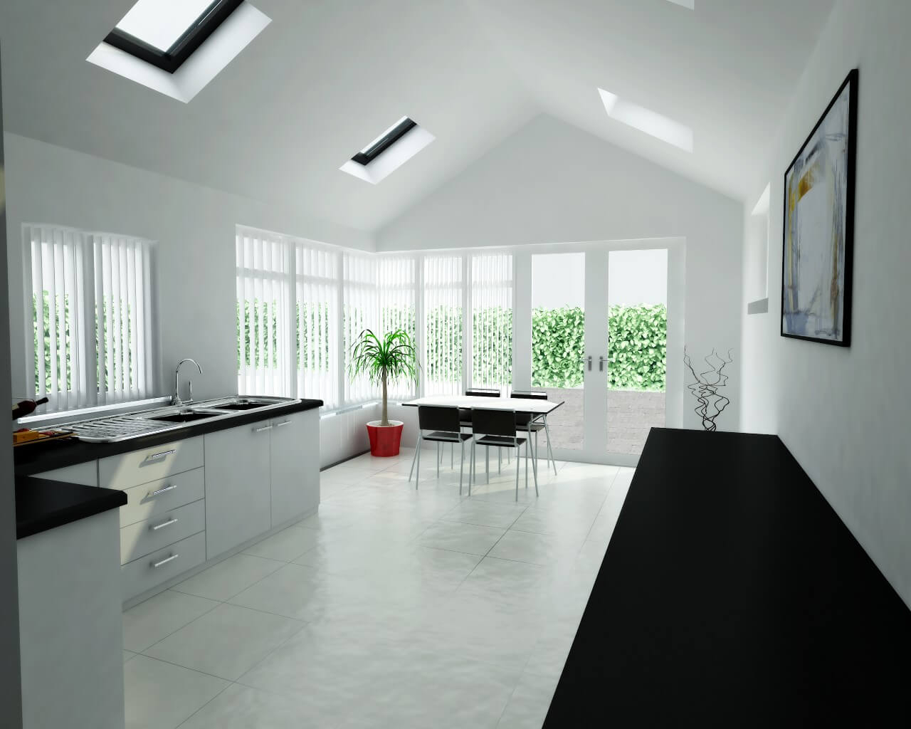 Rendering of the kitchen of a house.