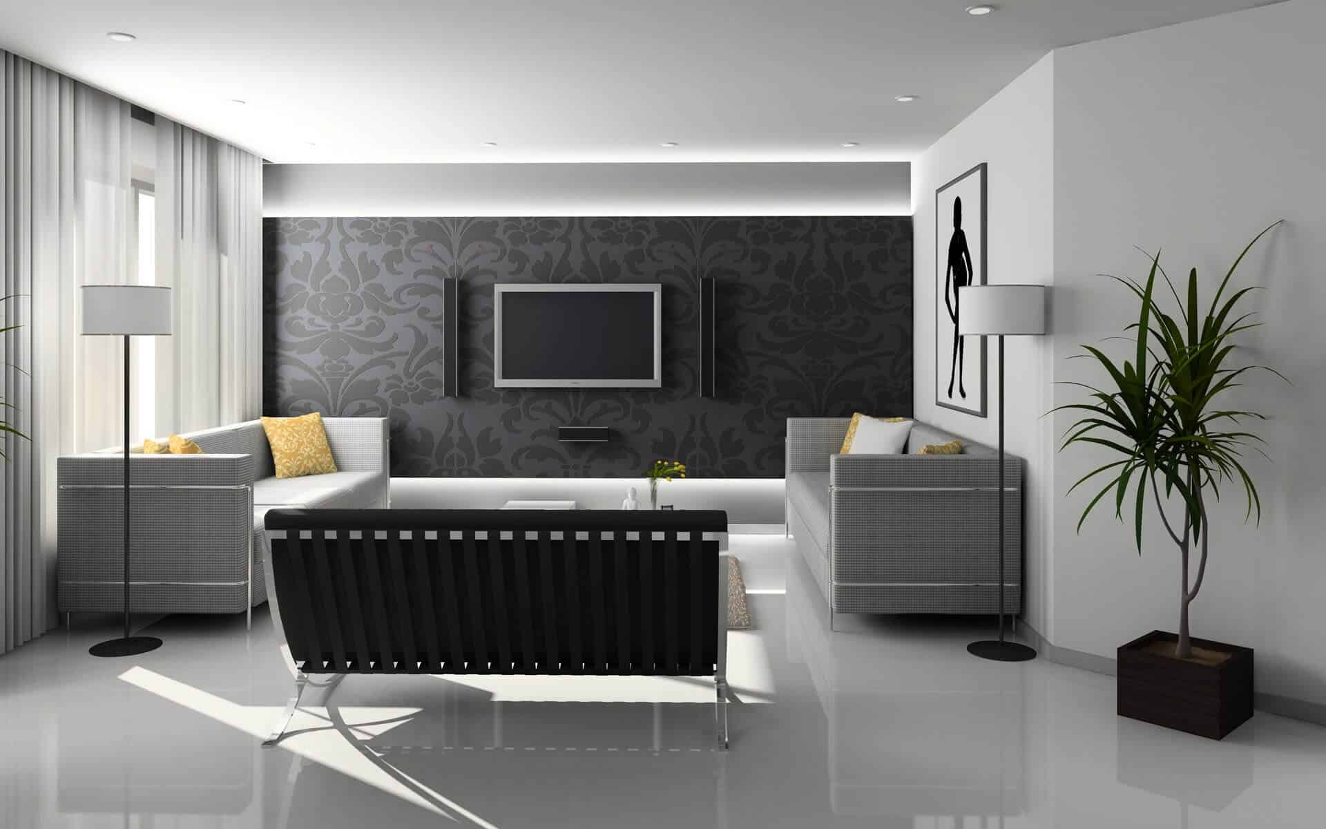 Rendering of a living room in Las Vegas.